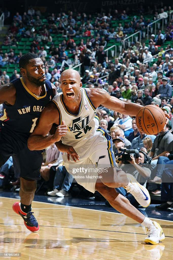 <a gi-track='captionPersonalityLinkClicked' href=/galleries/search?phrase=Richard+Jefferson&family=editorial&specificpeople=201688 ng-click='$event.stopPropagation()'>Richard Jefferson</a> #24 of the Utah Jazz drives past <a gi-track='captionPersonalityLinkClicked' href=/galleries/search?phrase=Tyreke+Evans&family=editorial&specificpeople=4851025 ng-click='$event.stopPropagation()'>Tyreke Evans</a> #1 of the New Orleans Pelicans at EnergySolutions Arena on November 13, 2013 in Salt Lake City, Utah.
