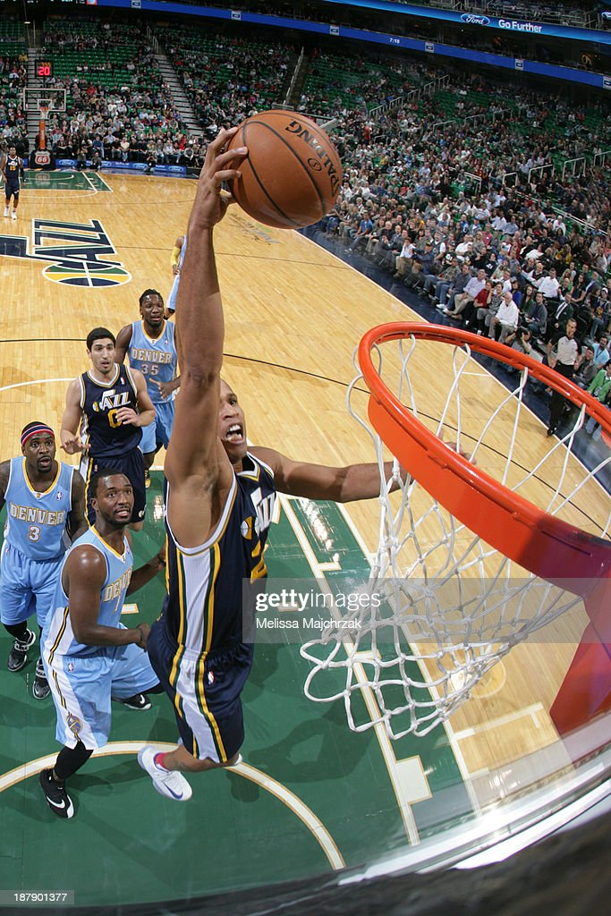 <a gi-track='captionPersonalityLinkClicked' href=/galleries/search?phrase=Richard+Jefferson&family=editorial&specificpeople=201688 ng-click='$event.stopPropagation()'>Richard Jefferson</a> #24 of the Utah Jazz dunks against the Denver Nuggets at EnergySolutions Arena on November 11, 2013 in Salt Lake City, Utah.