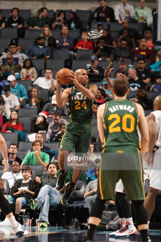 Richard Jefferson #24 of the Utah Jazz grabs the rebound against the Charlotte Bobcats during the game at the Time Warner Cable Arena on December 21, 2013 in Charlotte, North Carolina.
