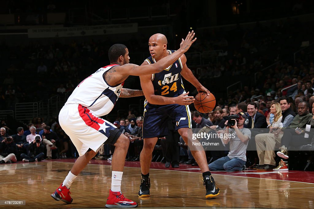 <a gi-track='captionPersonalityLinkClicked' href=/galleries/search?phrase=Richard+Jefferson&family=editorial&specificpeople=201688 ng-click='$event.stopPropagation()'>Richard Jefferson</a> #24 of the Utah Jazz handles the ball against the Washington Wizards at the Verizon Center on March 5, 2014 in Washington, DC.