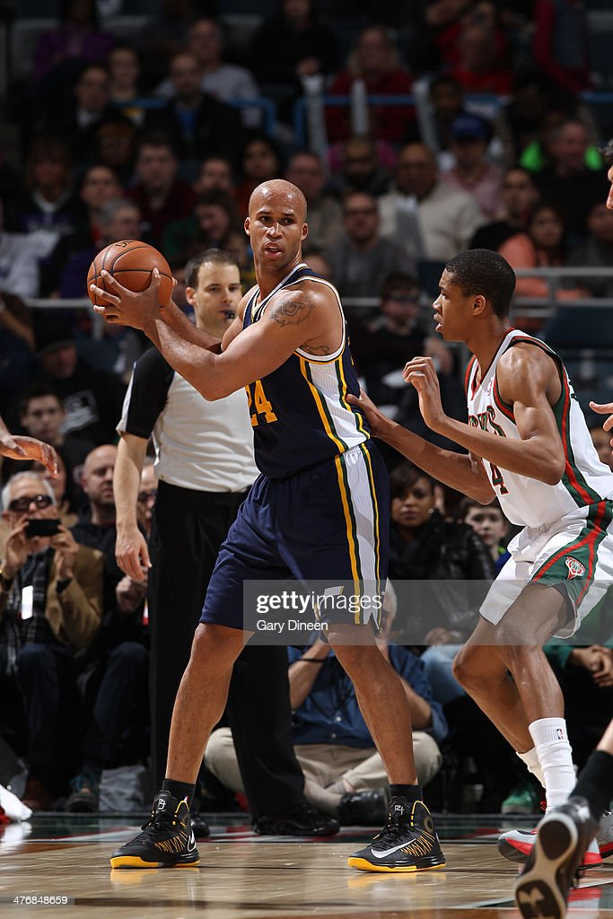 <a gi-track='captionPersonalityLinkClicked' href=/galleries/search?phrase=Richard+Jefferson&family=editorial&specificpeople=201688 ng-click='$event.stopPropagation()'>Richard Jefferson</a> #24 of the Utah Jazz handles the ball against the Milwaukee Bucks on March 3, 2014 at the BMO Harris Bradley Center in Milwaukee, Wisconsin.