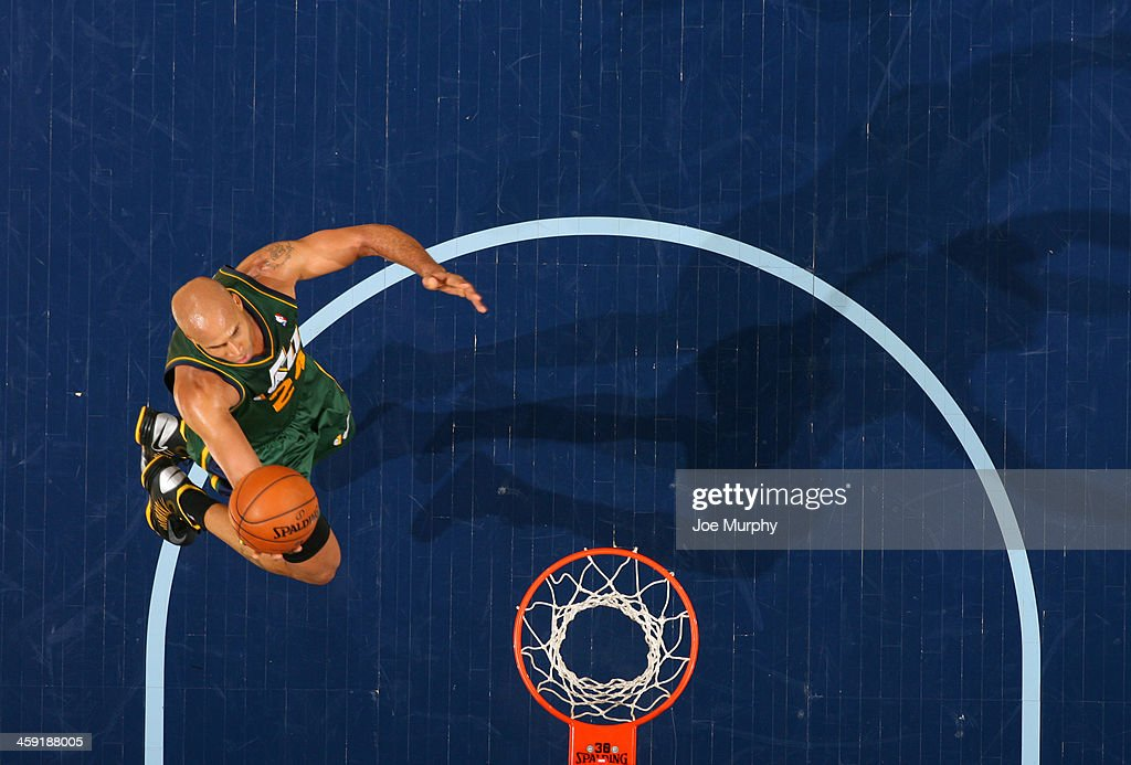 <a gi-track='captionPersonalityLinkClicked' href=/galleries/search?phrase=Richard+Jefferson&family=editorial&specificpeople=201688 ng-click='$event.stopPropagation()'>Richard Jefferson</a> #24 of the Utah Jazz shoots a layup against the Memphis Grizzlies on December 23, 2013 at FedExForum in Memphis, Tennessee.