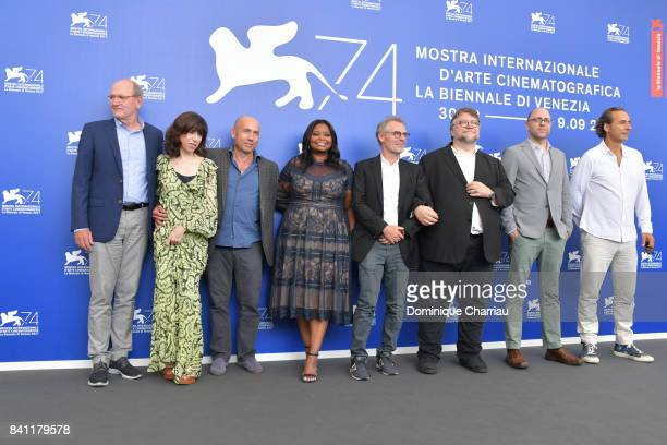 Richard Jenkins Sally Hawkins Matthew Greenfield Octavia Spencer Dan Laustsen Guillermo del Toro J Miles Dale and Alexandre Desplat attend the 'The...