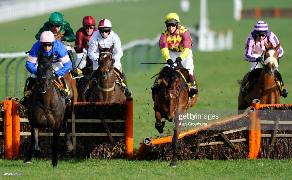 Richard Johnson and Le Rocher (C) make a mess of the hurdle before going on to win The JCB Triumph Hurdle Trial at Cheltenham racecourse on January 25, 2014 in Cheltenham, England.
