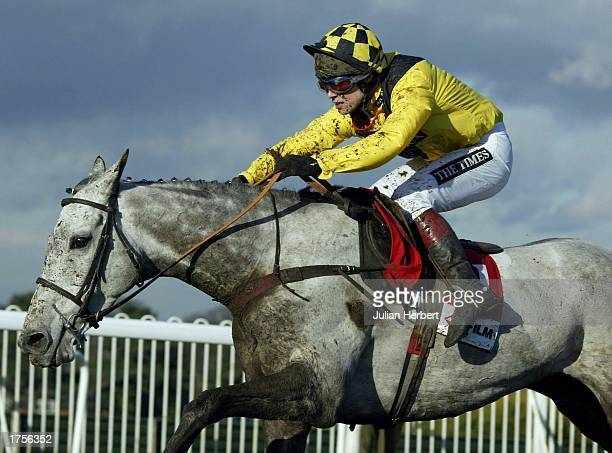 Richard Johnson and Rooster Booster clear the last flight before landinfg The Agfa Hurdle Race run at Sandown Racecourse on February 1 2003 in Sandown