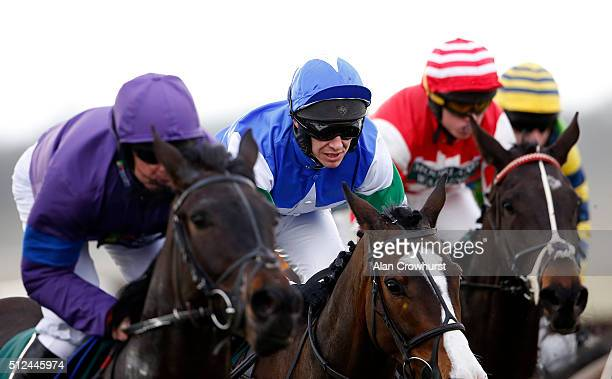 Richard Johnson in action at Warwick racecourse on February 26 2016 in Warwick England