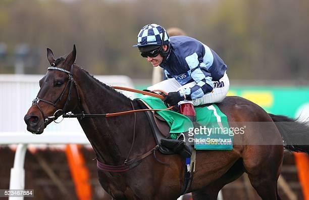 Richard Johnson on Menorah wins The bet365 Oaksey Steeple Chase at Sandown racecourse on April 23 2016 in Esher England