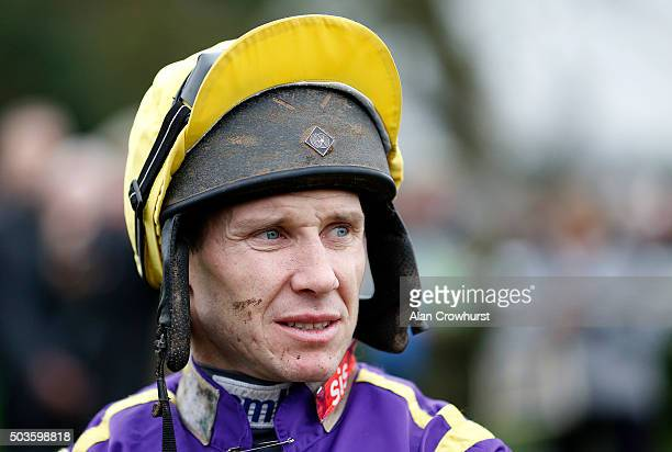 Richard Johnson poses at Huntingdon racecourse on January 06 2016 in Huntingdon England