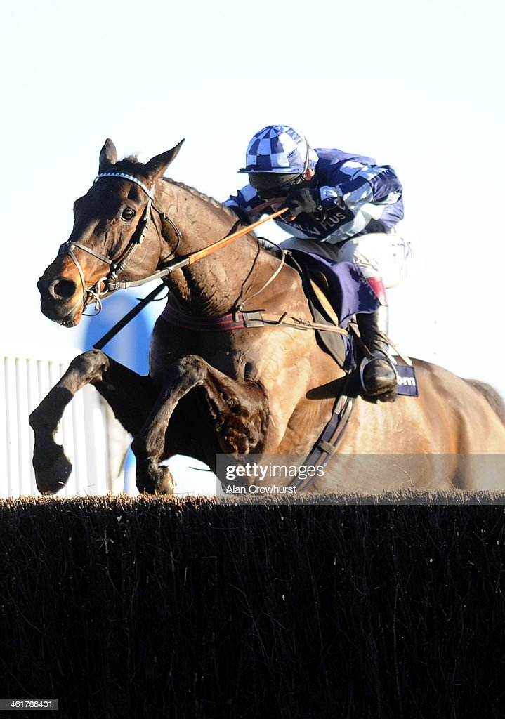 <a gi-track='captionPersonalityLinkClicked' href=/galleries/search?phrase=Richard+Johnson+-+Jockey&family=editorial&specificpeople=751436 ng-click='$event.stopPropagation()'>Richard Johnson</a> riding Captain Chris clear the last to win The williamhill.com Steeple Chase at Kempton Park racecourse on January 11, 2014 in Sunbury, England.