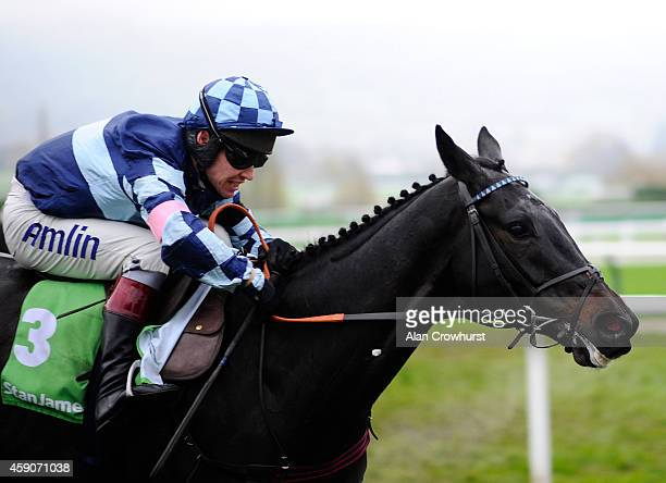 Richard Johnson riding Garde La Victoire clear the last to win The stanjamescom Greatwood Hurdle Race at Cheltenham racecourse on November 16 2014 in...