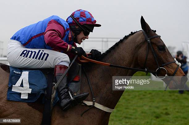 Richard Johnson riding Kaysersberg on his way to winning the Sky Bet Odds Guaranteed Handicap Hurdle race at Doncaster racecourse on January 24 2014...