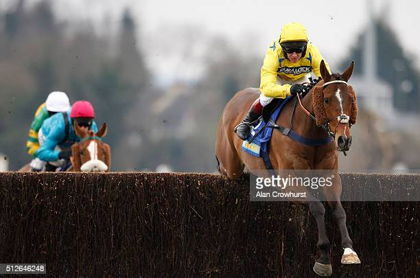 Richard Johnson riding Killala Quay on their way to winning The BetBright Best For Festival Betting Pendil Novices' Steeple Chase at Kempton Park...