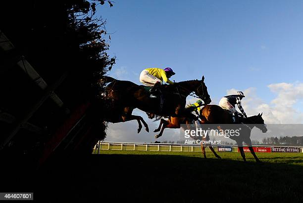 Richard Johnson riding Kris Spin on their way to winning The Malone Godfather Of Mortgages retorement Handicap Hurdle Race at Warwick racecourse on...