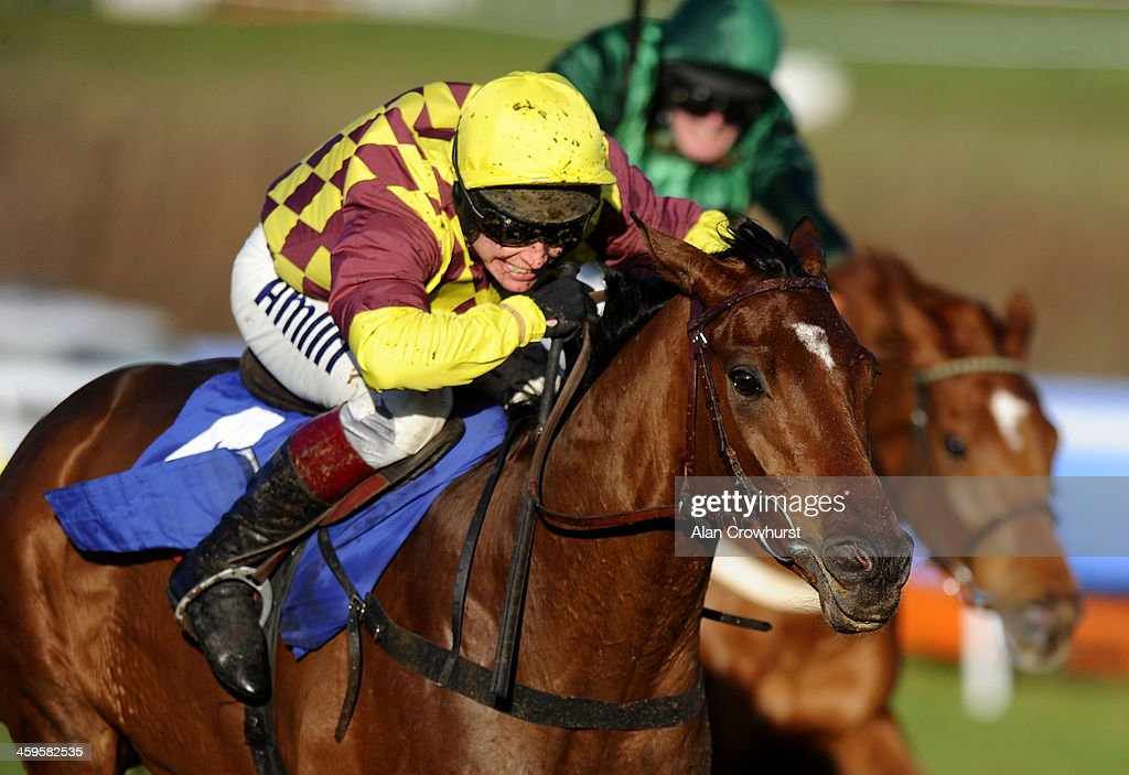<a gi-track='captionPersonalityLinkClicked' href=/galleries/search?phrase=Richard+Johnson+-+Jockey&family=editorial&specificpeople=751436 ng-click='$event.stopPropagation()'>Richard Johnson</a> riding Le Rocher (L) clear the last to win The coral.co.uk Future Champions Finale Juvenile Hurdle Race at Chepstow racecourse on December 28, 2013 in Chepstow, Wales.