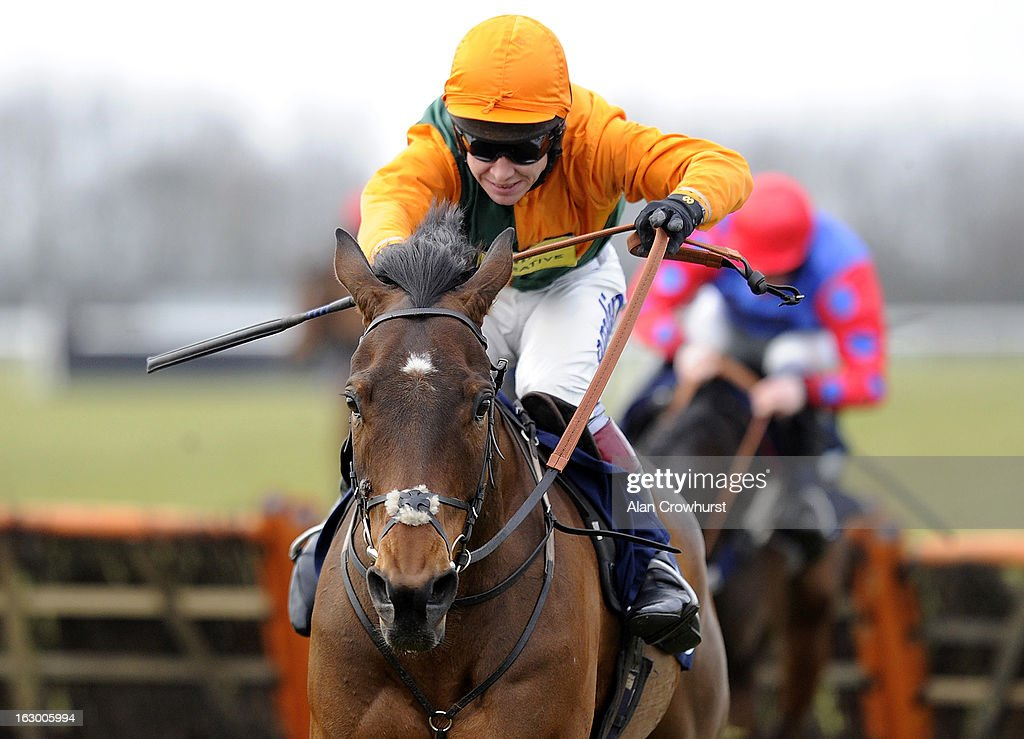 Richard Johnson riding Lord Grantham on their way to winning The Molly Morton Celebration Handicap Hurdle Race at Huntingdon racecourse on March 03, 2013 in Huntingdon, England.