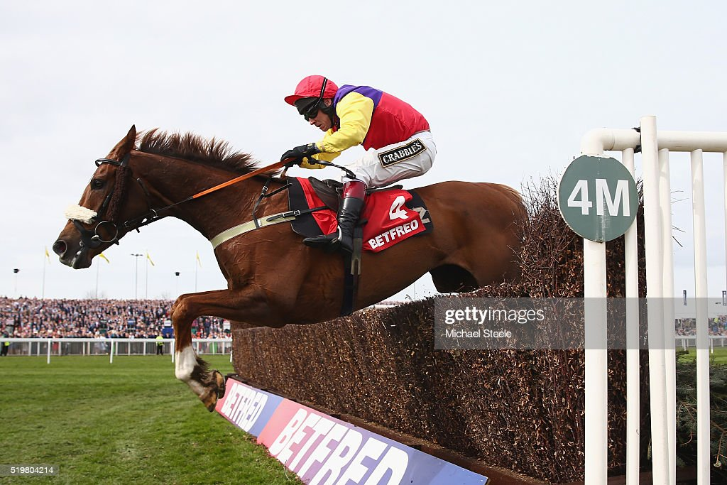 Richard Johnson riding Native River clears the last on his way to victory in the Betfred Mildmay Novices' steeplechase at Aintree Racecourse on April 8, 2016 in Liverpool, England.