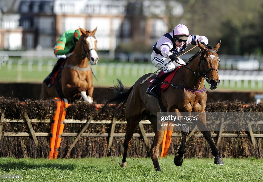 Richard Johnson riding Pistol clear the last to win The London Southend Airport Juvenile Hurdle Race at Sandown racecourse on February 15, 2013 in Esher, England.