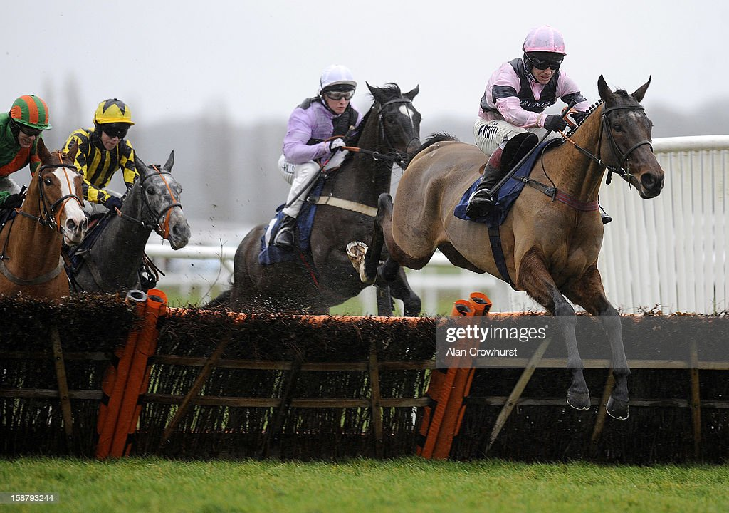 Richard Johnson riding Pistol on their way to winning The Betfred Hat Trick Heaven Juvenile Hurdle Race at Newbury racecourse on December 29, 2012 in Newbury, England.