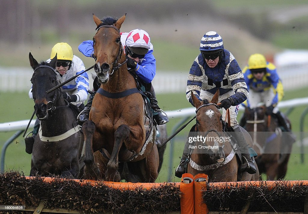 Richard Johnson riding Reve de Sivola clear the last to win The Rewards4Racing Cleeve Hurdle Race at Cheltenham racecourse on January 26, 2013 in Cheltenham, England.