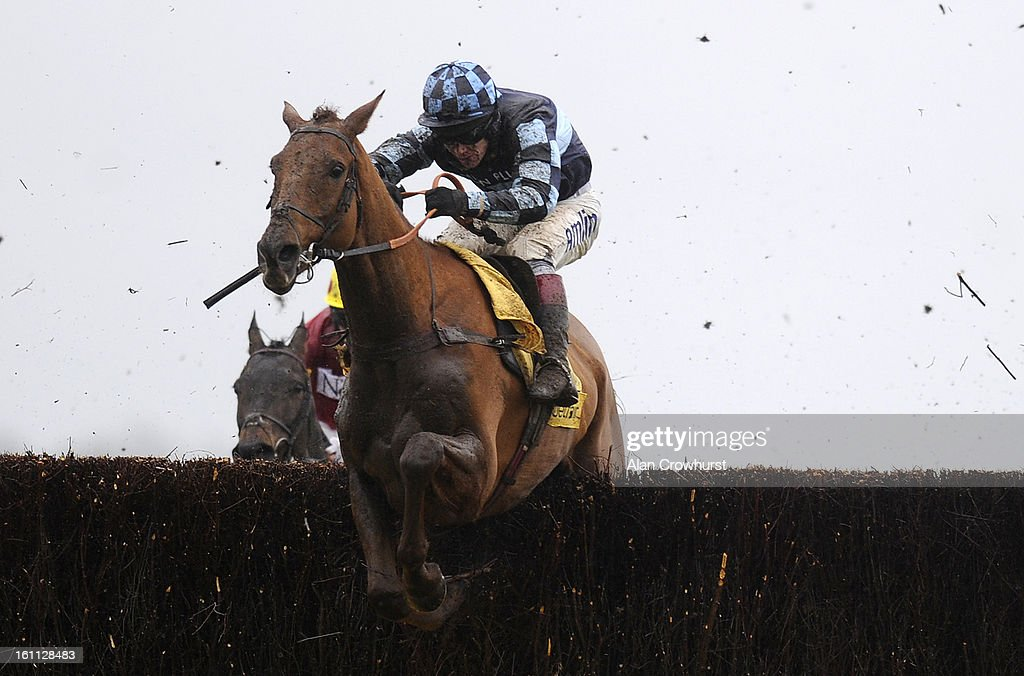 Richard Johnson riding Wishfull Thinking clear the last to win The Betfair Super Saturday Steeple Chase at Newbury racecourse on February 09, 2013 in Newbury, England.