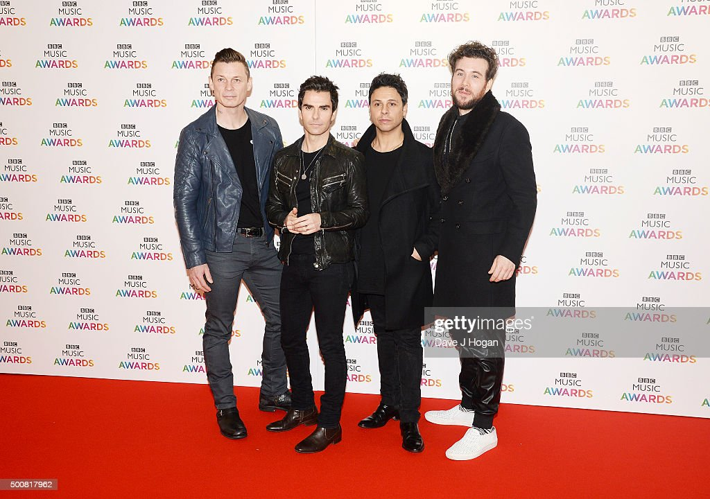 Richard Jones, Kelly Jones, Adam Zindani and Jamie Morrison of the Stereophonics attend the BBC Music Awards at Genting Arena on December 10, 2015 in Birmingham, England.