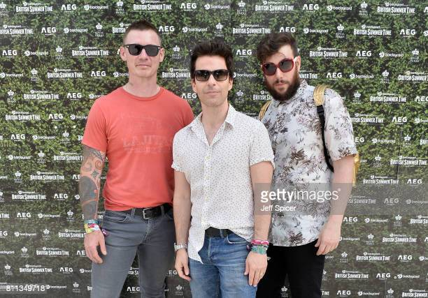 Richard Jones Kelly Jones and Jamie Morrison of the Stereophonics attend the Barclaycard Exclusive British Summer Time Festival at Hyde Park on July...