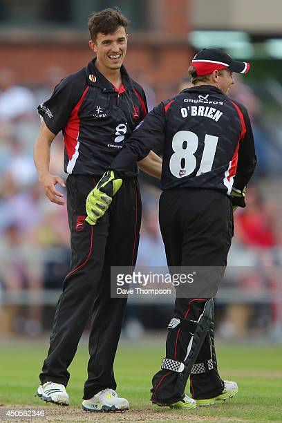 Richard Jones of Leicestershire Foxes celebrates taking his second wicket during the Lancashire Lightning v Leicestershire Natwest T20 Blast at Old...