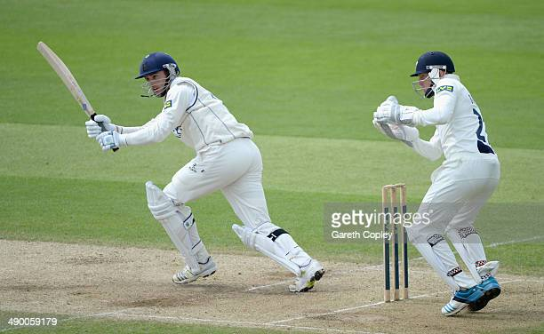 Richard Jones of Warwickshire bats during day three of the LV County Championship division One match between Yorkshire and Warwickshire at Headingley...