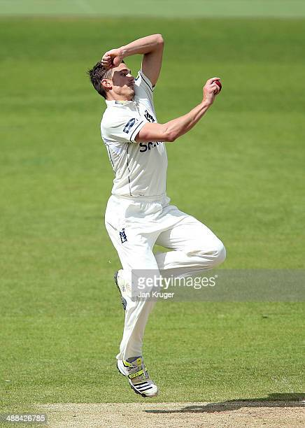Richard Jones of Warwickshire bowls during the LV County Championship match between Warwickshire and Middlesex at Edgbaston on May 6 2014 in...