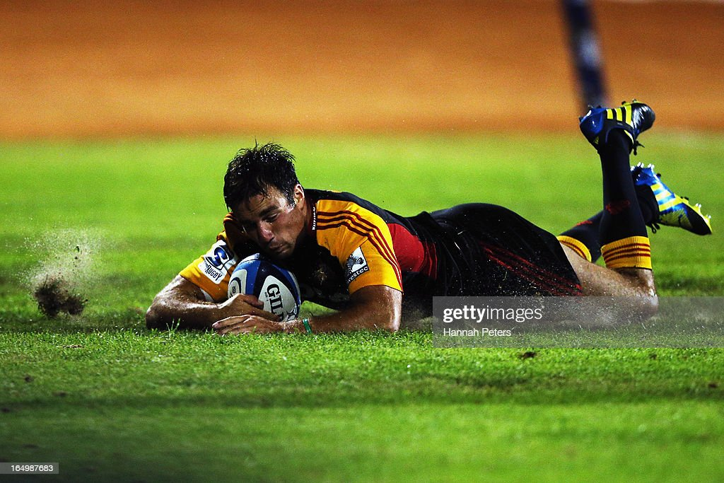 Richard Kahui of the Chiefs dives over to score a try during the round seven Super Rugby match between the Chiefs and the Blues at Bay Park on March 30, 2013 in Tauranga, New Zealand.