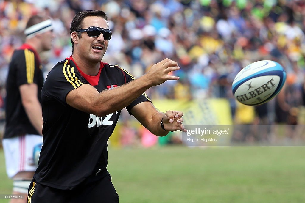 Richard Kahui passes during warm-up in the Super Rugby trial match between the Hurricanes and the Chiefs at Mangatainoka RFC on February 16, 2013 in Mangatainoka, New Zealand.
