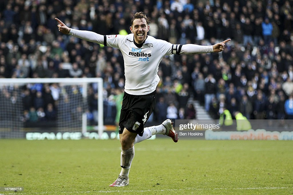 Richard Keogh of Derby celebrates after his shot leads to Jake Buxton scoring Derby's second goal of the game during the npower Championship match between Derby County and Leeds United at Pride Park on December 8, 2012 in Derby, England.