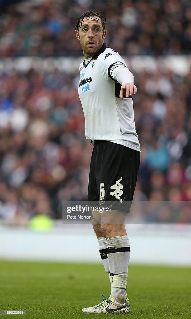 Richard Keogh of Derby County in action during the Sky Bet Championship Semi Final Second Leg between Derby County and Brighton & Hove Albion at iPro Stadium on May 11, 2014 in Derby, England.