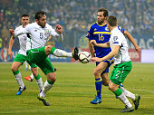 HERZEGOVINA NOVEMBER 13 Richard Keogh of Ireland in action against Senad Lulic of Bosnia during the EURO 2016 Qualifier PlayOff First Leg between...