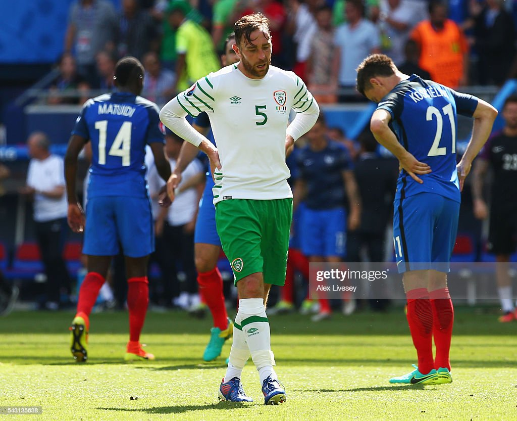Richard Keogh of Republic of Ireland shows his dejection after their team's 1-2 defeat in the UEFA EURO 2016 round of 16 match between France and Republic of Ireland at Stade des Lumieres on June 26, 2016 in Lyon, France.