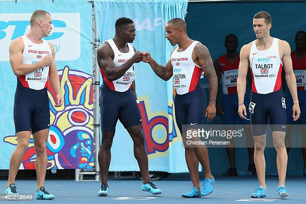 Richard Kilty Harry AikinesAryeetey James Ellington and Daniel Talbot of Great Britain are introduced to the Men's 4x100 metres relay during day two...