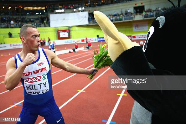 Richard Kilty of Great Britain Northern Ireland wins gold in the Men's 60 metres Final during day three of the 2015 European Athletics Indoor...