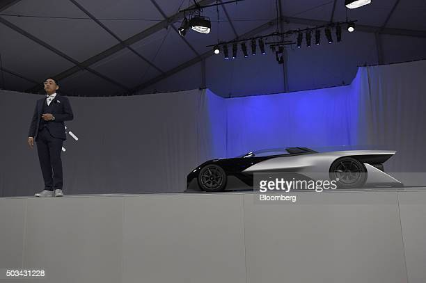 Richard Kim head of global design for Faraday Future Inc speaks during an unveiling event for the FFZero1 concept vehicle at the 2016 Consumer...