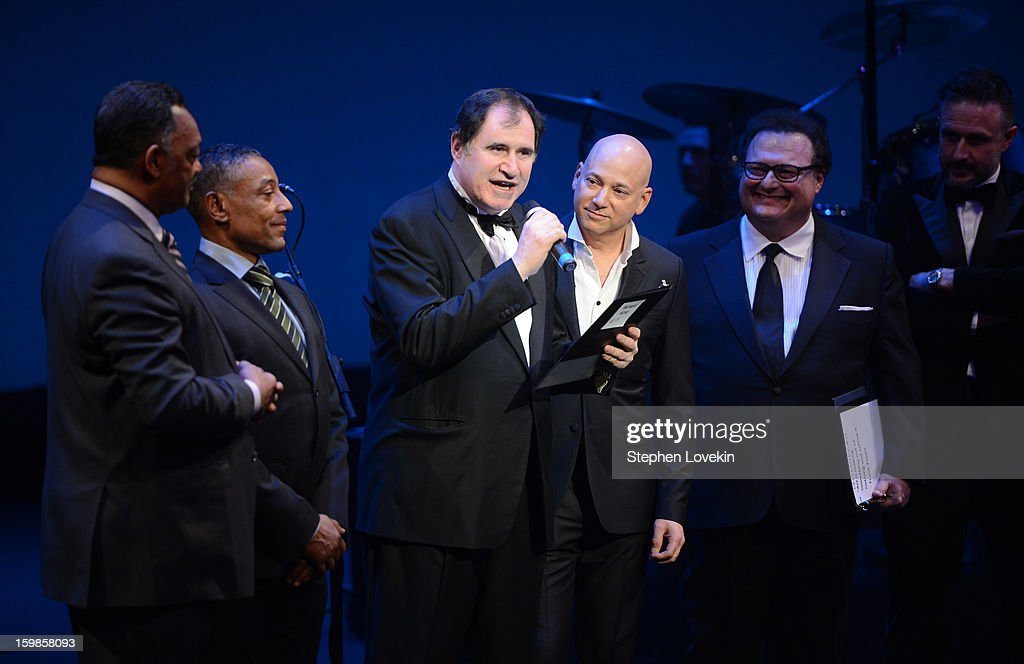 Richard Kind and Evan Handler speak onstage with Jesse Jackson, Giancarlo Esposito, Wayne Knight, and David Arquette at The Creative Coalition's 2013 Inaugural Ball at the Harman Center for the Arts on January 21, 2013 in Washington, United States.
