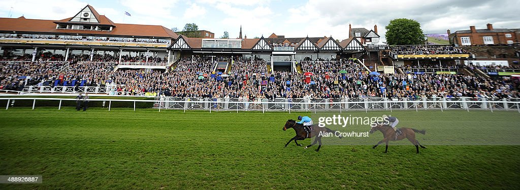 Richard Kingscote riding Brown Panther win The Boodles Diamond Ormonde Stakes at Chester racecourse on May 09 2014 in Chester England