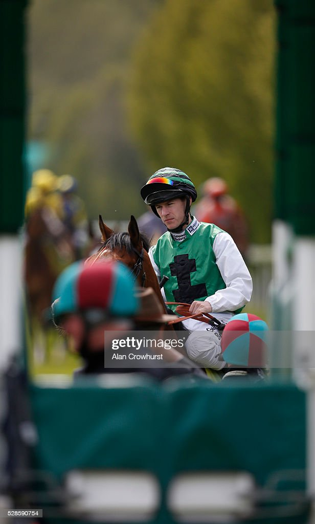 Richard Kingscote riding Hillbilly Boy at the start before winning The Crabbie's Earl Grosvenor Handicap Stakes at Chester racecourse on May 6, 2016 in Chester, England.