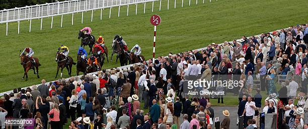 Richard Kingscote riding Kachy win The Fairmont Molecombe Stakes at Goodwood racecourse on July 29 2015 in Chichester England