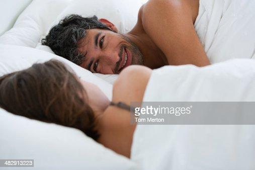 Richard & Kirstin sleeping in bed 0078 : Stock Photo
