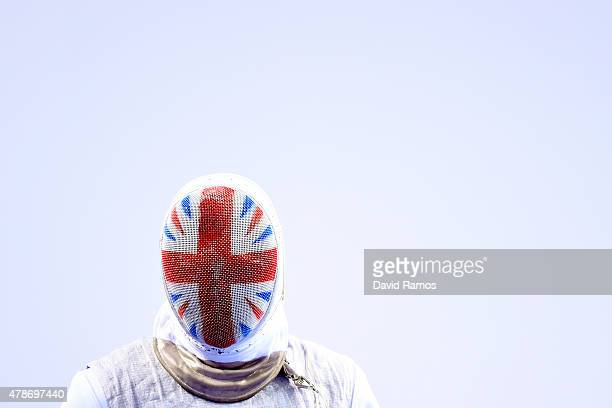 Richard Kruse of Great Britain looks on during the Men's Team Foil quarter finals against Mark Perelmann of Germany on day fifteen of the Baku 2015...