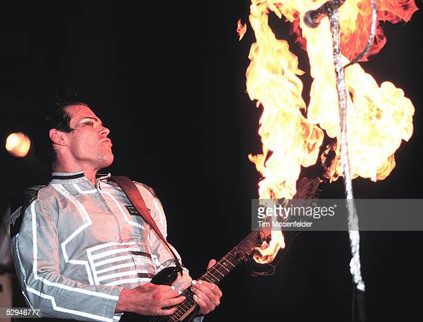 Richard KruspeBernstein of Rammstein performs as part of The Pledge of Allegiance Tour 2001at Cox Arena on September 30 2001 in San Diego California