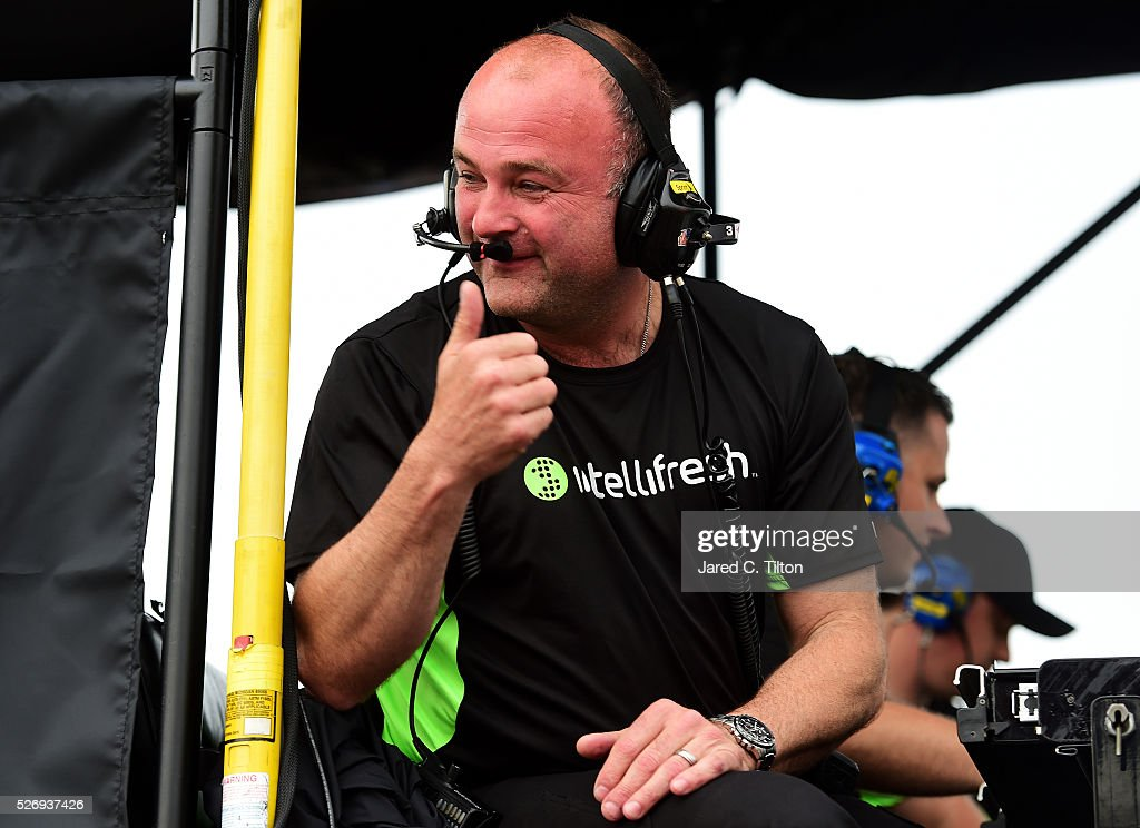 Richard Labbe, crew chief for Austin Dillon, driver of the #3 Dow - Energy & Water/Intellifresh Chevrolet, celebrates after the NASCAR Sprint Cup Series GEICO 500 at Talladega Superspeedway on May 1, 2016 in Talladega, Alabama.