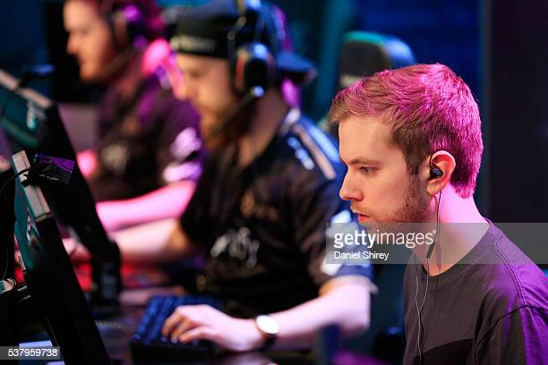 Richard Landstrom gamertag 'Xizt' of Ninjas in Pyjamas warms up prior to the match against G2 Esports at the ELeague Arena at Turner Studios on June...