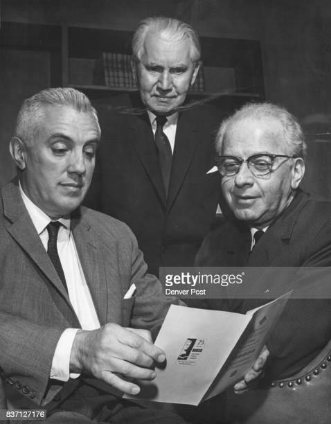 Richard Lardner Tobin left Checks Program He was introduced by William E Barrett center of Denver author of 'Lilies of the Field' Edward Miller...