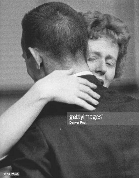 Richard Lee Embraces Wife Margaret He was cleared of burglary charges by Denver jury Officer Le In Burglar Patrolman Richard G Lee who said he lived...