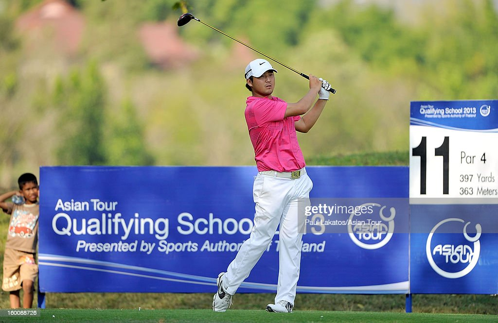 Richard Lee of Canada plays a shot during round four of the Asian Tour Qualifying School Final Stage at Springfield Royal Country Club on January 26, 2013 in Hua Hin, Thailand.